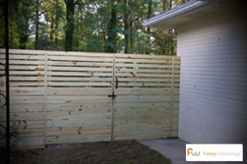 Horizontal Board wood privacy fencing in GA, FL and NC.