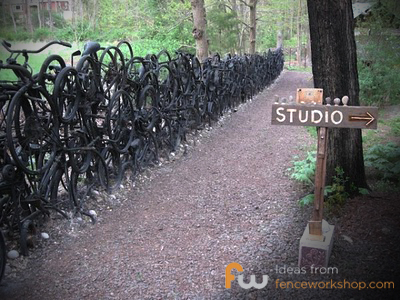 Fence made of black bicycles