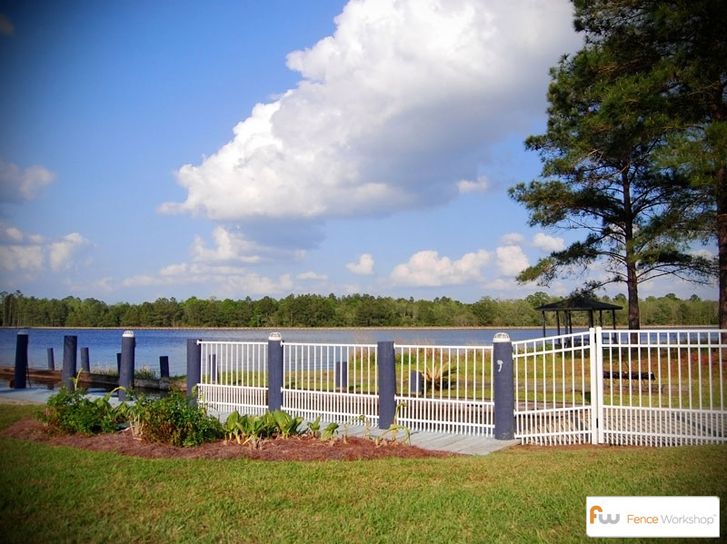 White Metal Residential Fence