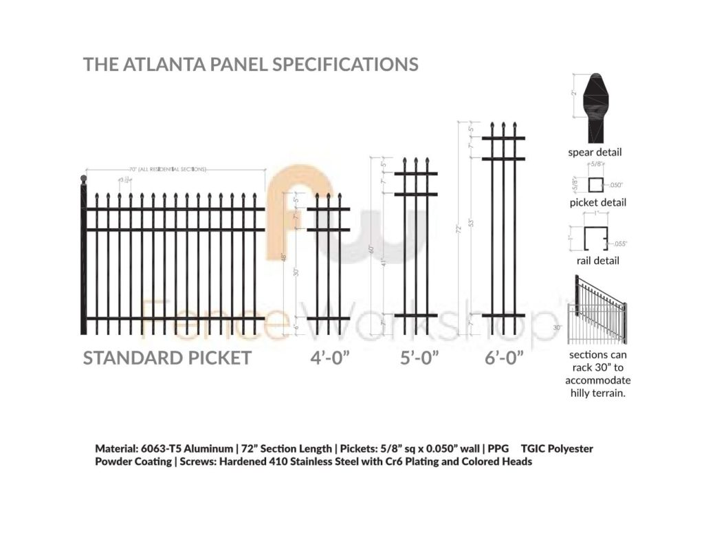 ATLANTA Aluminum Fence Panel Online Specifications