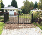 Buford Double Picket Aluminum Driveway Gate Installed