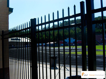 montage steel fence installed commercial