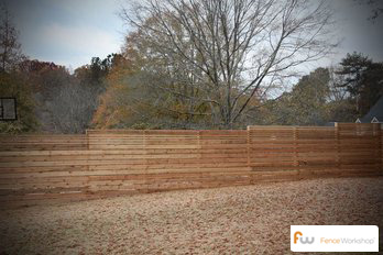 Horizontal board wood privacy fencing sales and installation in Georgia, Florida and North Carolina.