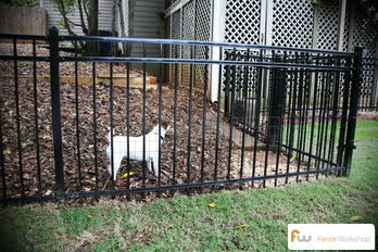 Metal, aluminum and steel dog fencing.