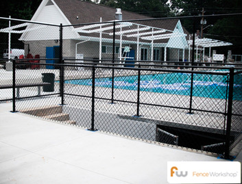 Chain link swimming pool fencing