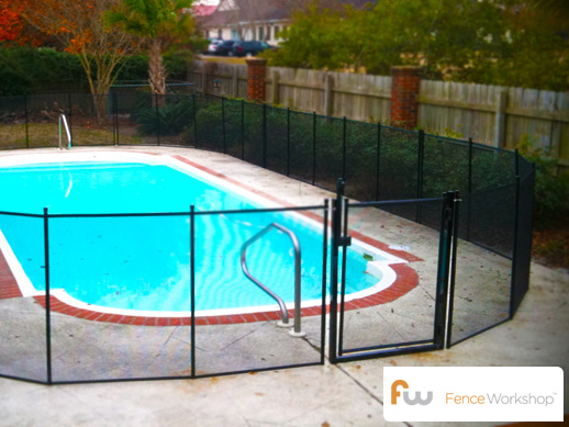Mesh pool safety fencing