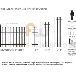 ATLANTA Aluminum Fence Panel Specifications